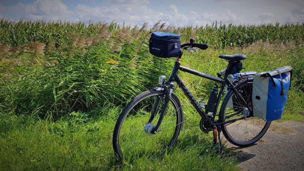 Fahrrad steht vor einem Feld